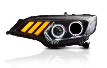 Honda Jazz 14-17 Projector Head Lamp Mustang Style DRL Led Black Base