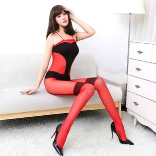 Hot~American Transparent Sexy One Pcs Stockings (Red)
