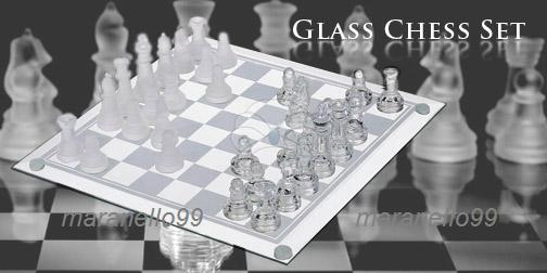 HOT! Bigger & Better Special Edition 25cmx25cm Elegant Glass Chess Set