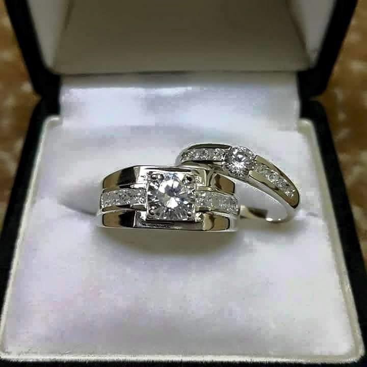 HOT COUPLE SET WHITE SILVER RING