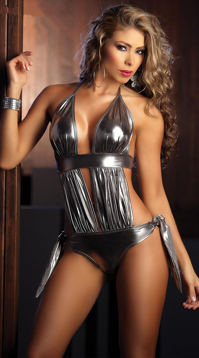 Hot in Europe~Sexy Patent Leather One-suit Type (Silver)