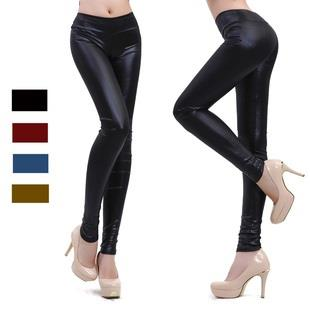Hot~Korean High Waist Matt Imitate Leather Leggings
