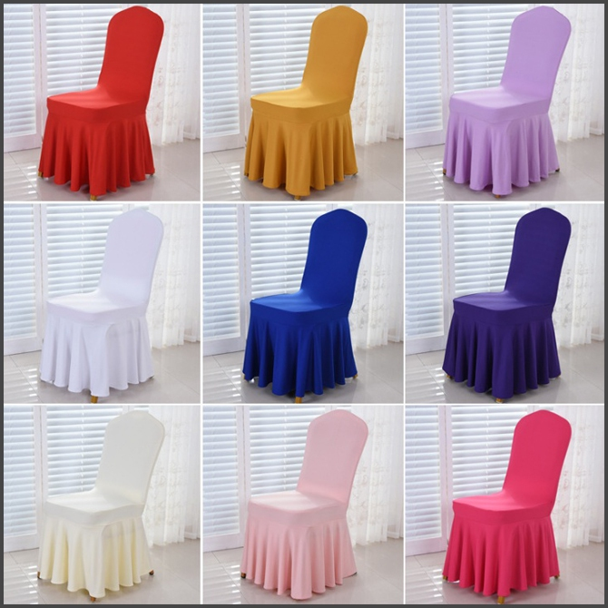Hotel Sun Skirt Chair Cover Elastic Seat Cover Event Banquet Wedding Stool Set