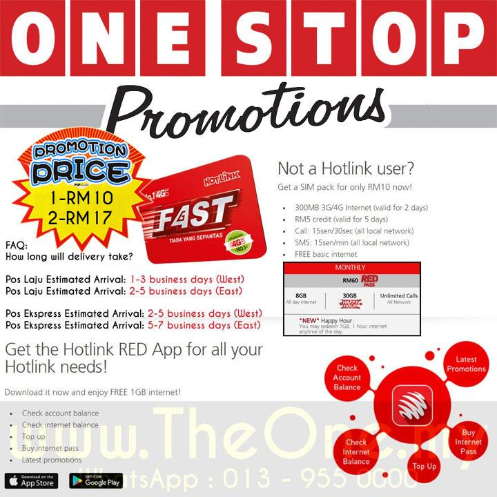 Hotlink Prepaid sim card - 1pcs FOR RM10 @ 2pcs FOR RM17.00
