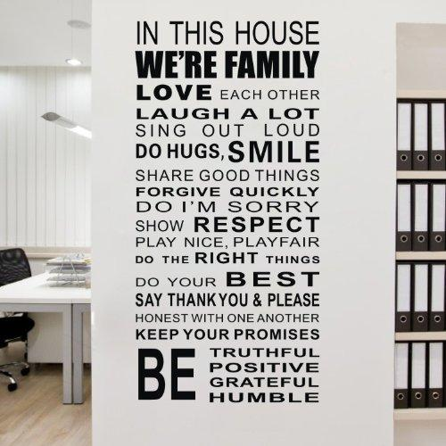 House Rule Wall Sticker In This House Wall Quote Saying Decal Vinyl Part 14