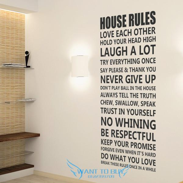 House Rules..Wall Sticker Quotes And Saying Decals Wallpaper Home Deco Part 64