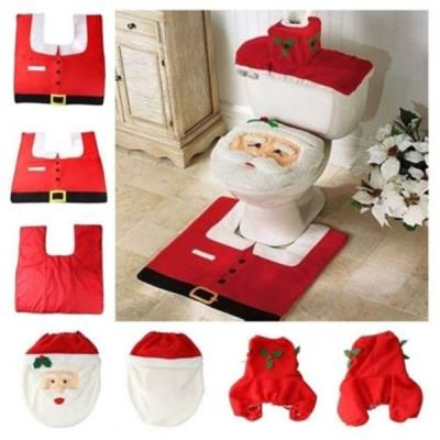 Household Christmas Santa Claus Cloth Toilet Foot Pad Cover Toilet