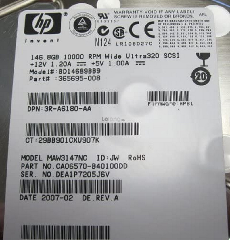 HP 146.8GB 3.5 INCH 10K U320 SCSI HDD BD14689BB9 365695-008