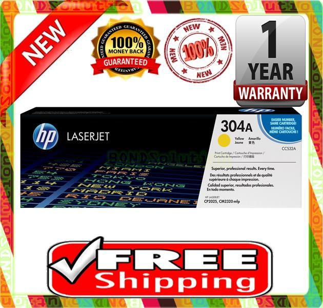 NEW HP 304A / CC532A YELLOW Toner 2320 2020 2025 (FREE SHIPPING)