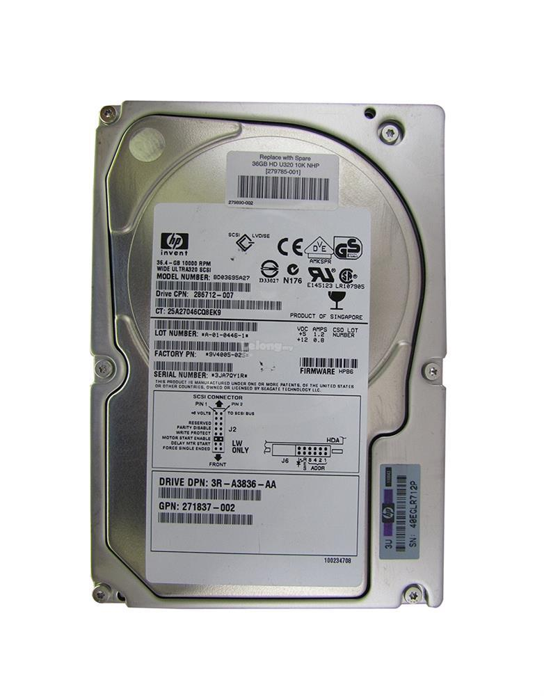 HP 36.4GB SCSI 68PIN 3.5 INCH HDD  BD03695A27 , 279785-001