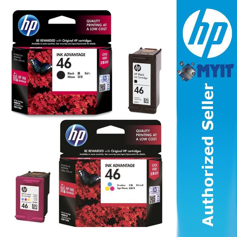 ... HP 46 Tri Color Black Colour Ink Cartridge CZ637AA CZ638AA