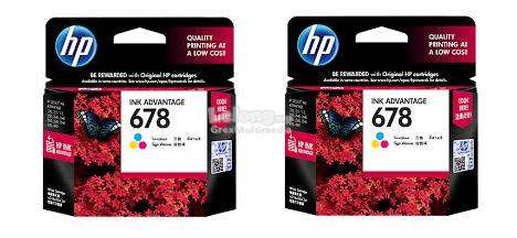 HP 678 COLOUR INK CARTRIDGE ORIGINAL (CZ108AA) TWIN PACK