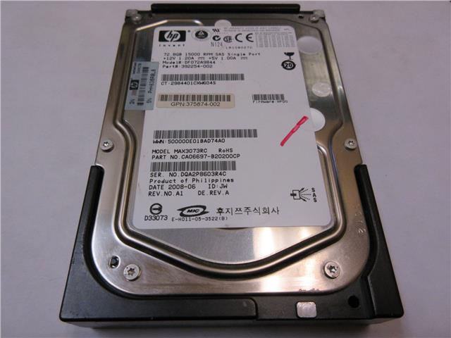 "HP 72GB 15000RPM 3.5"" SAS Hard Drive DF072A9844 392254-002 375874-005"