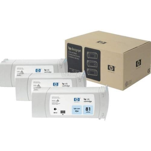 HP 81 Dye Cartridges (3-pack) 680-ml - Light Cyan (C5070A)