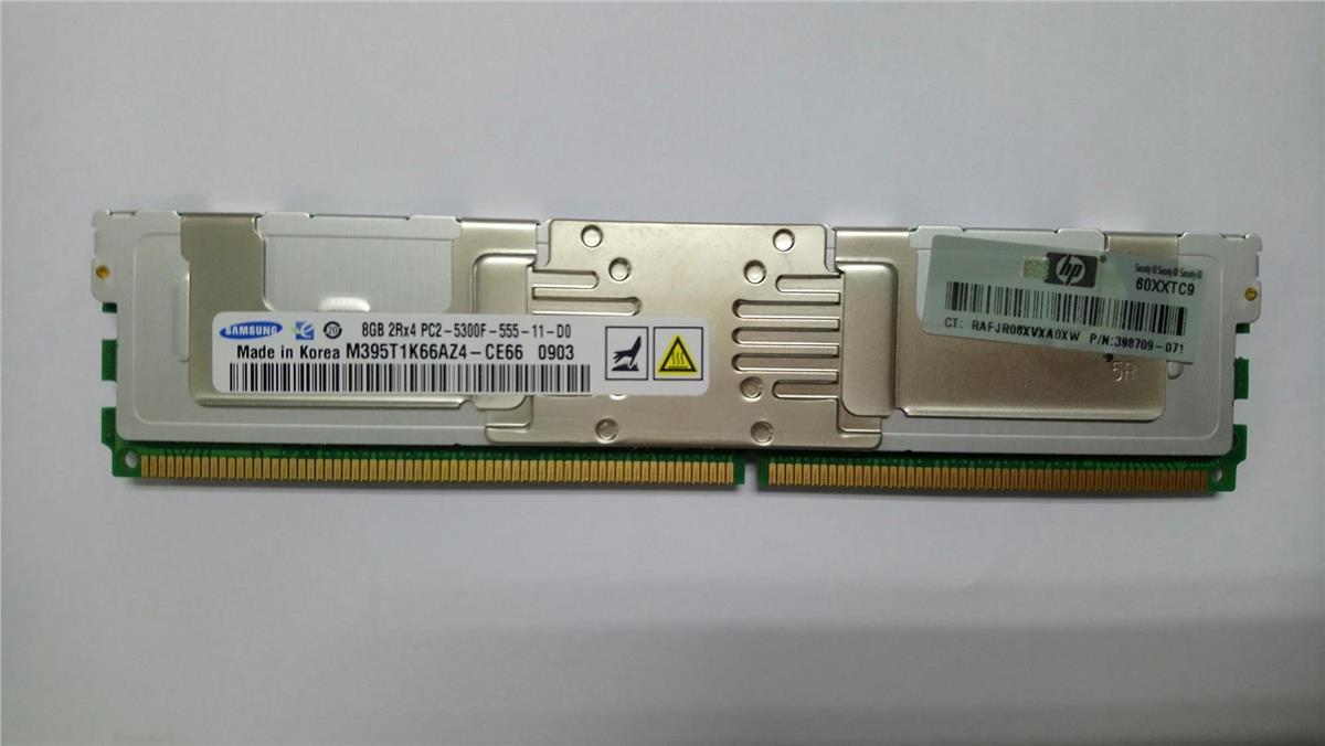 HP 8GB DDR2 PC2-5300 667MHz CL 5 ECC Reg FB Server Memory - 398709-071