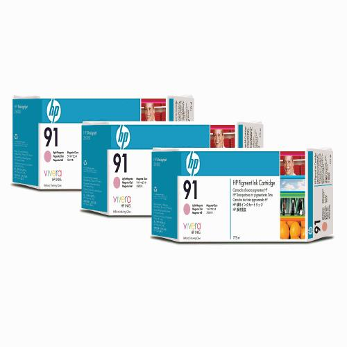 HP 91 DesignJet Pigment Ink Cartridges (3-pack) 775-ml - Light Magenta