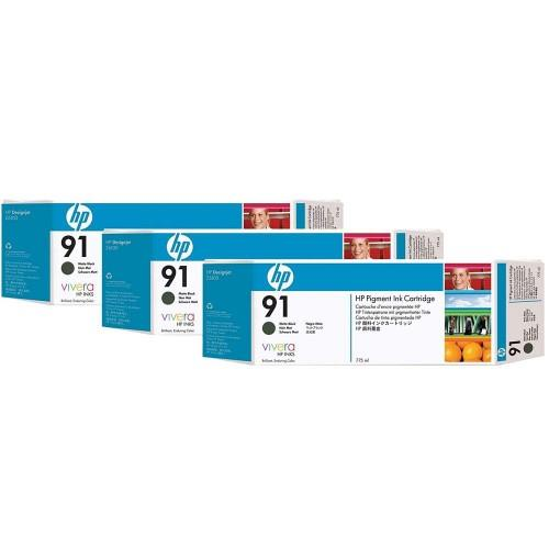 HP 91 DesignJet Pigment Ink Cartridges (3-pack) 775-ml - Matte Black