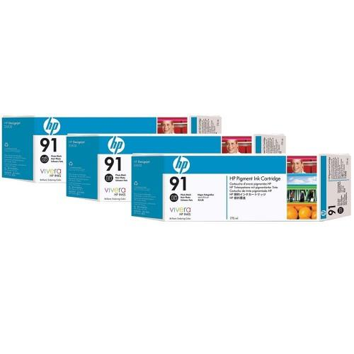 HP 91 DesignJet Pigment Ink Cartridges (3-pack) 775-ml Photo Black