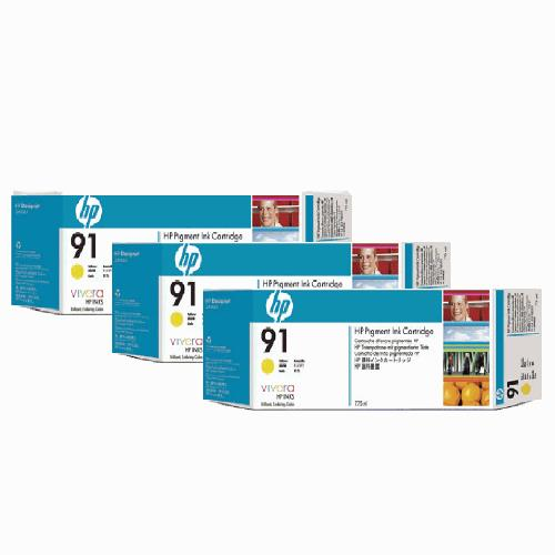 HP 91 DesignJet Pigment Ink Cartridges (3-pack) 775-ml Yellow (C9485A)