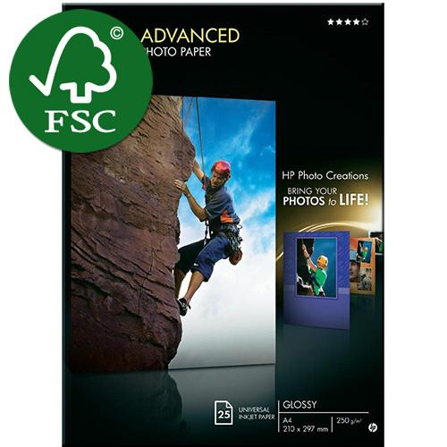 HP Advanced Glossy Photo Paper A4 25's  250gsm, (Q5456A)