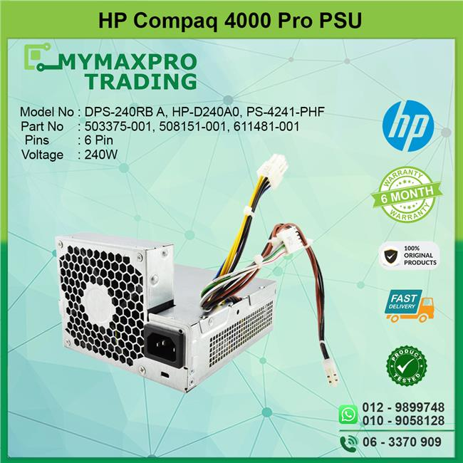 HP Compaq 4000 4300 Pro 240W Power Supply PSU 503375-001 611481-001