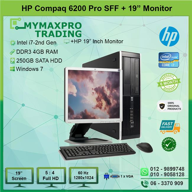 HP Compaq 6200 Pro SFF i7 2nd Gen 4GB 250GB HDD + 19' Monitor