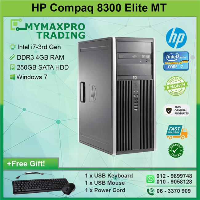 HP Compaq 8300 Elite MT i7-3rd Gen 4GB 250GB HDD Win 7 Desktop
