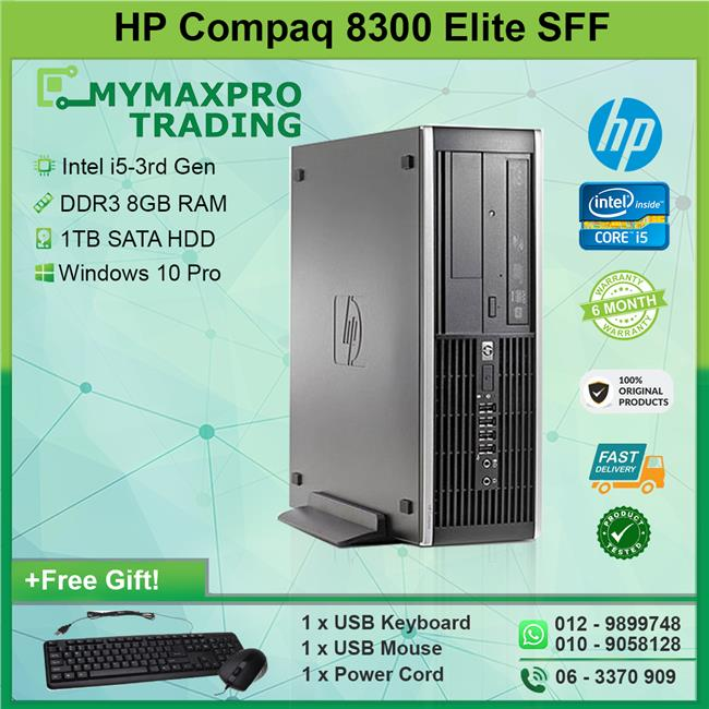 HP Compaq 8300 Elite SFF i5-3rd Gen 8GB 1TB HDD Win10Pro Desktop