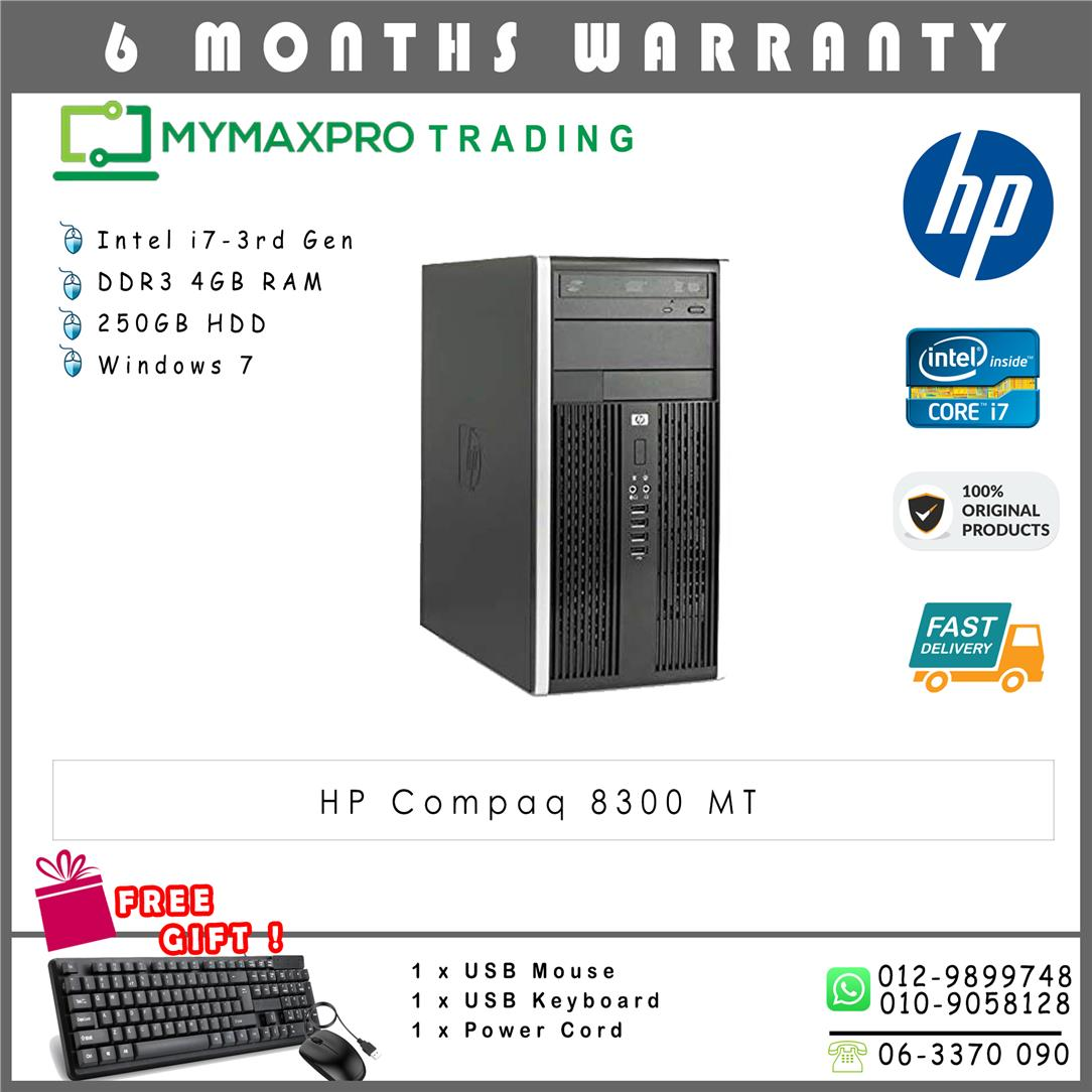 HP Compaq 8300 MT Intel i7-3rd Gen 4GB 250GB HDD Win 7 Desktop