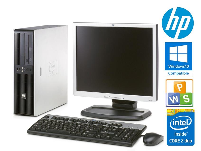 "HP DC5700 SFF Intel Core2Duo + 15"" Screen Win7 Office Business PC se"