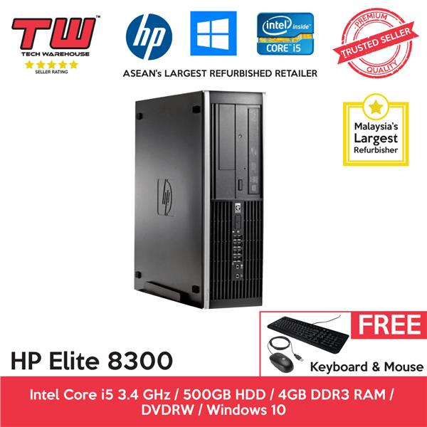 HP Elite 8300 + 4GB RAM + 250GB HDD + Windows 10 Home + 1 Year Wty