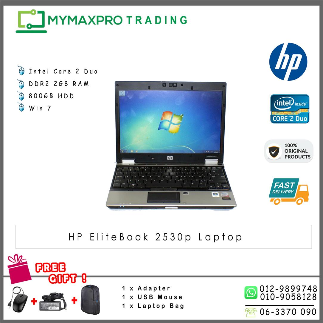 HP EliteBook 2530p core2duo 2GB RAM 80GB HDD laptop