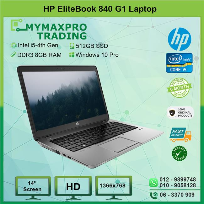 HP EliteBook 840 G1 i5 4th 8GB 512GB SDD Win10Pro 1366x768 Laptop