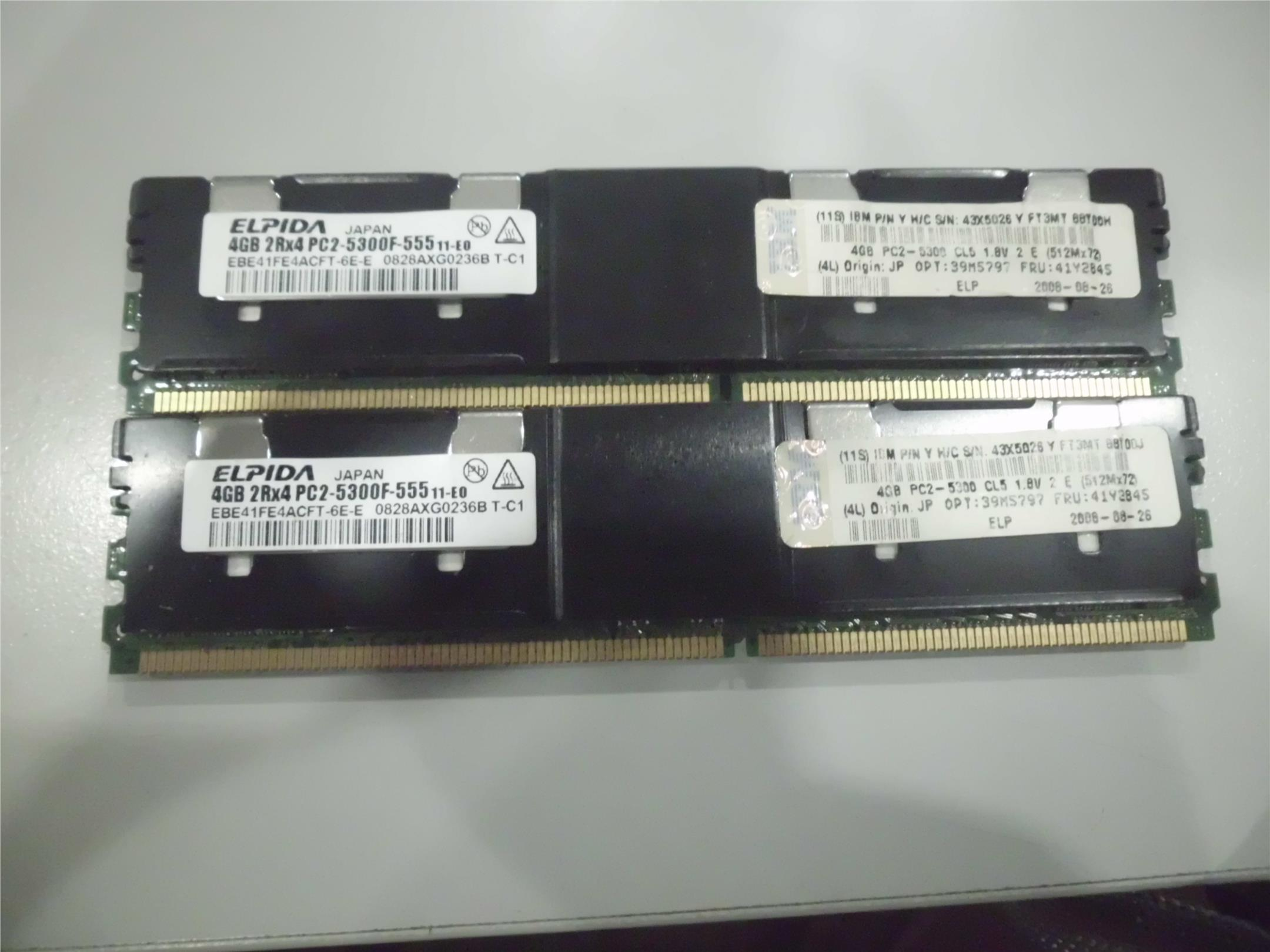 HP IBM DELL G5 SERVER RAM MERMORY DDR2 5300F ECC USED 4GBX2