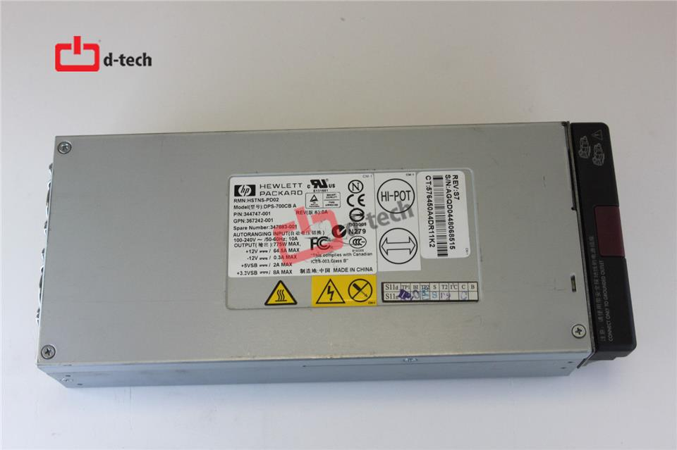 HP ML370 G4 700W POWER SUPPLY 344747-001, 347883-001, 367242-001