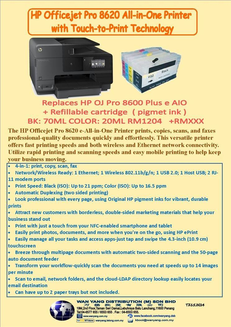 HP Officejet Pro 8620e + HP Refillable Cartridges Pro950/951