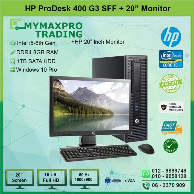 HP ProDesk 400 G3 i5-6500 6th Gen 8GB RAM 1TB HDD Win10Pro + 20' LED
