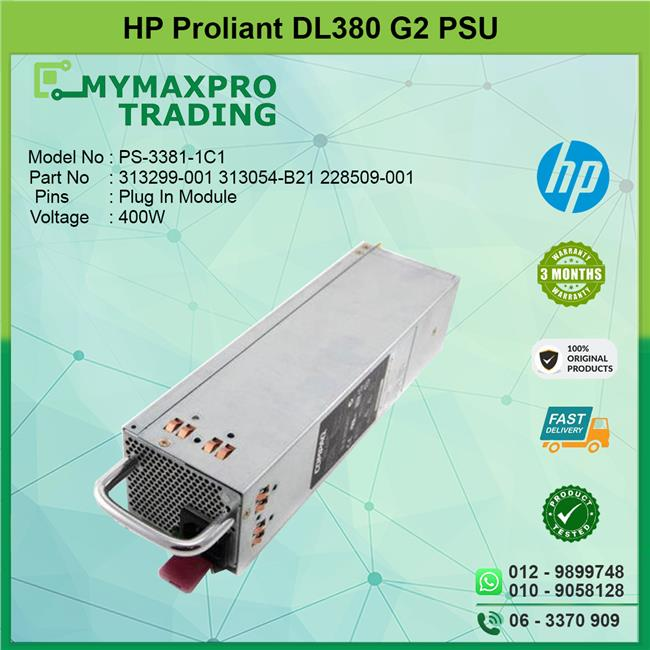 HP Proliant DL380 G2 Server 400W Power Supply PSU 313054-001