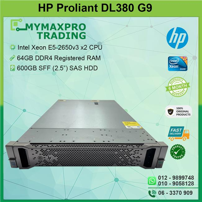 HP ProLiant DL380 G9 Rack Server E5-2650v3 2CPU 64GB RAM 600GB SAS HDD