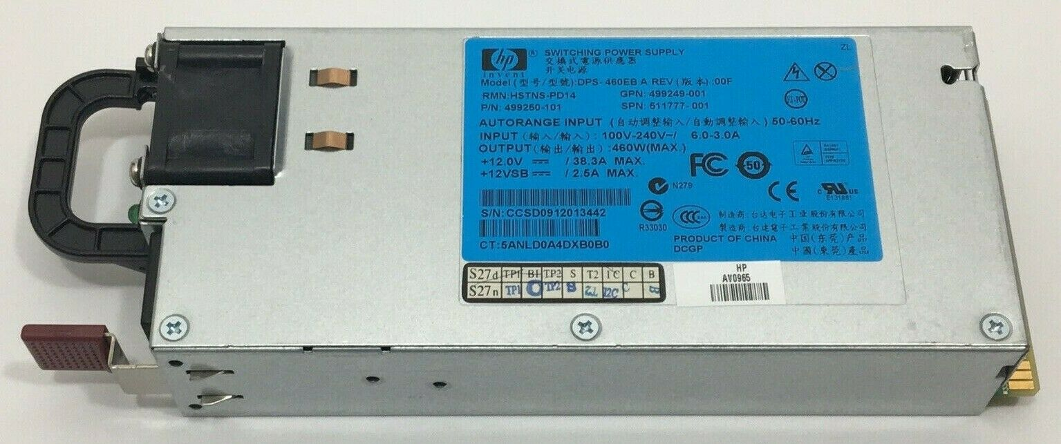 HP Proliant DL388 G7 G8 Server 460W Power Supply PSU 748279-201 (USED)