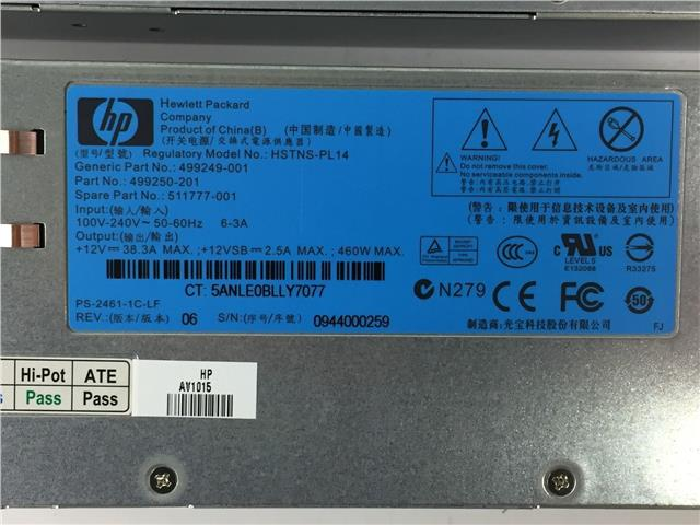 HP Prolient 499249-001 499205-101 511777-001 499250-201 Power Supply