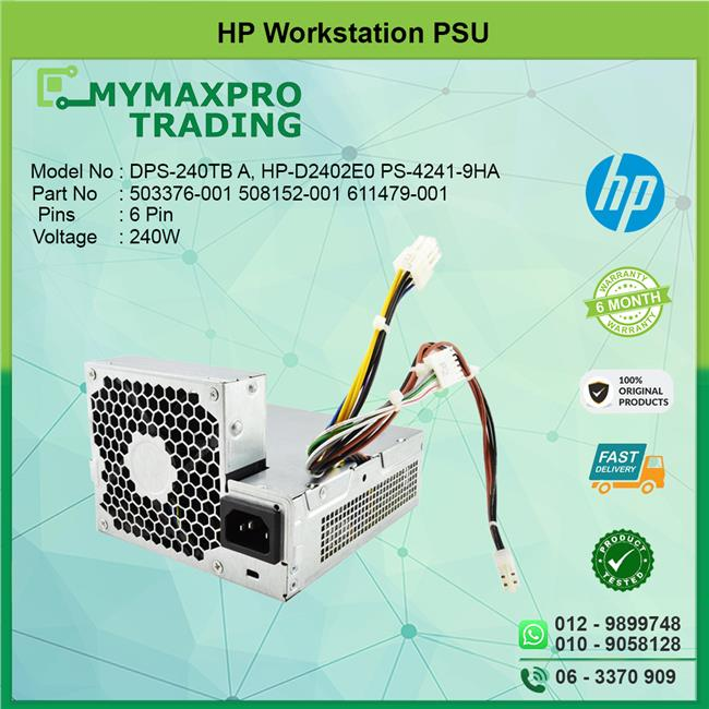HP Workstation SFF 240W 503376-001 508152-001 611479-001 PSU