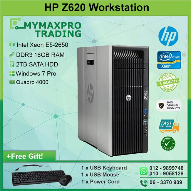 HP Z620 Desktop Workstation Intel E5-2650 16GB 2TB HDD Quadro 4000