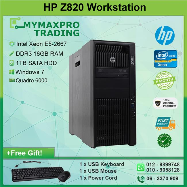 HP Z820 Workstation Intel Xeon E5-2667 16GB 1TB HDD Win 7 Quadro 6000