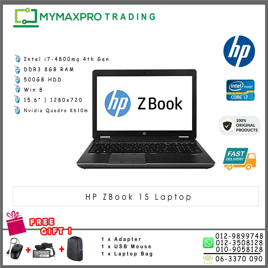 HP ZBook 15 Intel i7-4800mq 8GB 500GB Nvidia Quadro K610m Laptop