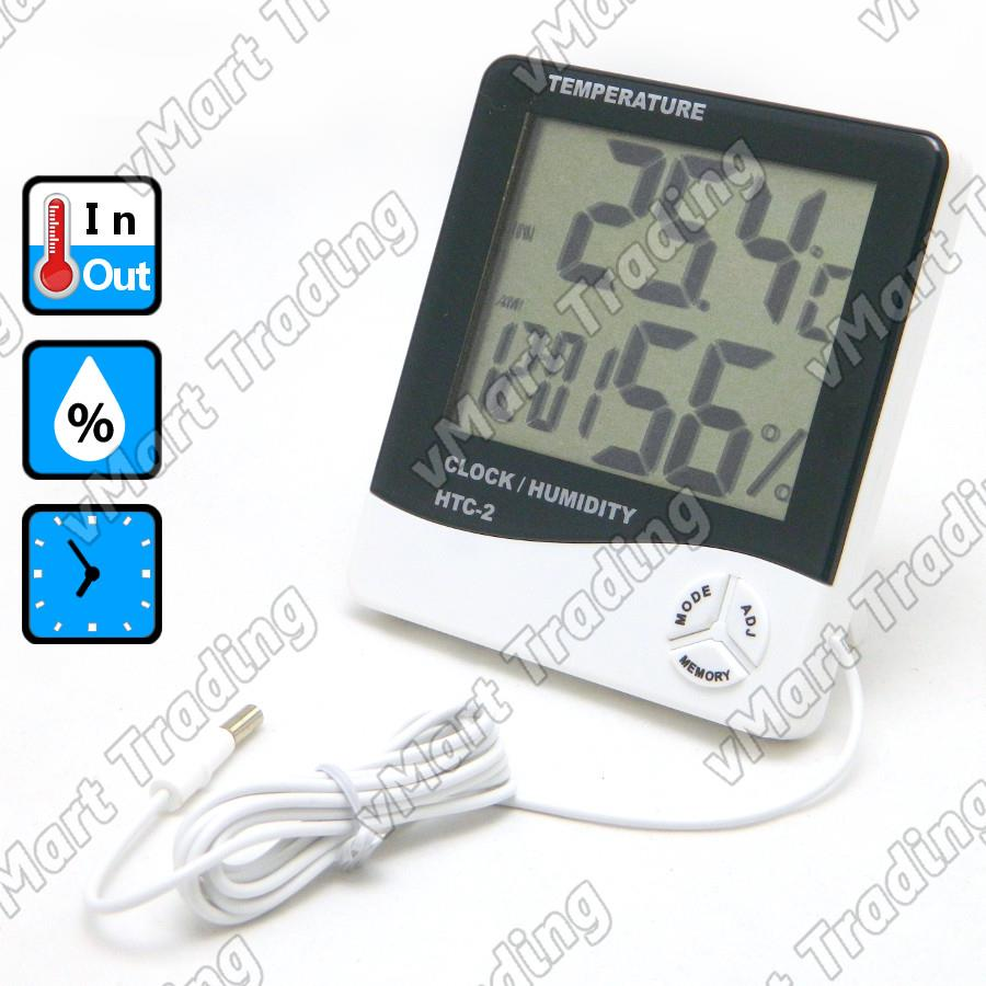 HTC-2E1T Digital In/Out Thermometer Hygrometer Clock