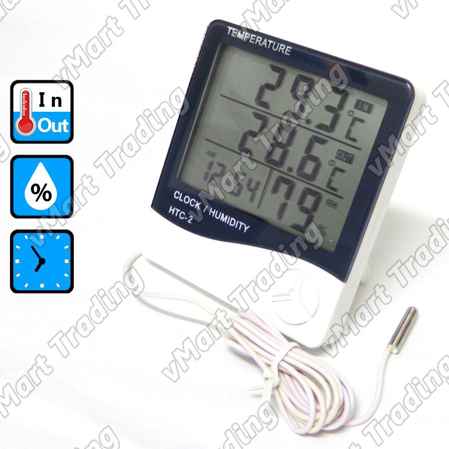 HTC-2E2T Digital In/Out Thermometer Hygrometer Clock