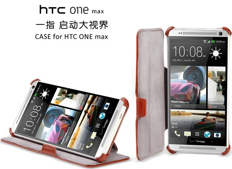 Htc One Max PU Leather Flip Case + Free Screen Protector