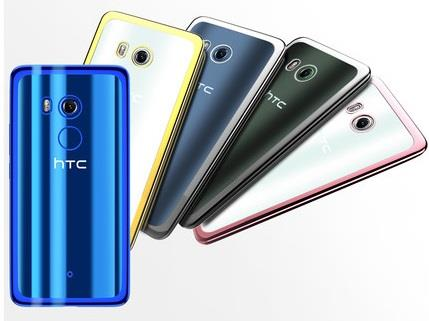 HTC U11+ transparent back case casing cover + tempered glass