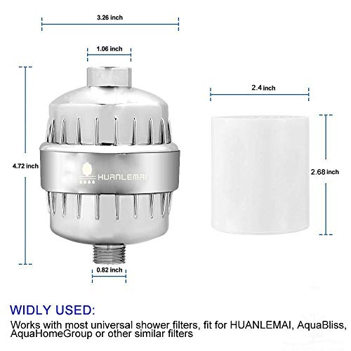~ HUANLEMAI 2-Pack 15-Stage Replacement Shower Water Filter Cartridges w/Vitam